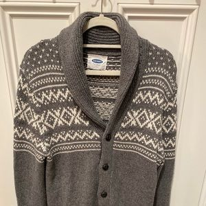 Men's Gray/White Cardigan Sweater.